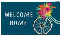 """16"""" x 28"""" Navy Floral Bike Welcome Home Coir Doormat"""