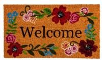 "16"" x 28"" Floral Framed Welcome Coir Doormat"
