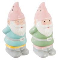 """4"""" Multi Pastel Ceramic Spring Gnome Salt & Pepper Shakers"""