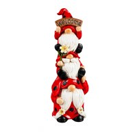 """9"""" Stacked Red and Black Ladybug Gnomes Trio Welcome Polyresin Statue"""