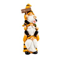 """9"""" Stacked Yellow and Black Striped Bee Gnomes Trio Be Happy Polyresin Statue"""