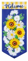 """28"""" x 13""""  Mini Yellow and White Daisies Welcome Extra Long Garden Flag"""