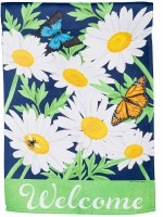"""18"""" x 13"""" Mini Daisy Garden Welcome Suede Garden Flag"""