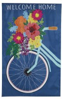 """44"""" x 28"""" Blue Spring Floral Bike Welcome Home House Flag"""