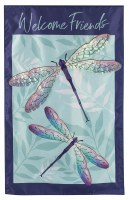 """44"""" x 28"""" Blue and Purple Dragonfly Pair Welcome Friends House Flag"""