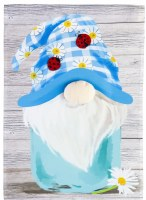 "18"" x 13"" Mini Blue Ladybug Mason Jar Gnome Garden Flag"