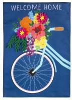 "18"" x 13"" Mini Blue Spring Floral Bike Welcome Home Garden Flag"
