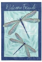 """18"""" x 13"""" Mini Blue and Purple Dragonfly Pair Welcome Friends Garden Flag"""