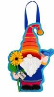 "18"" x 13"" Red, Orange and Blue Garden Gnome Spring Door Hanger"