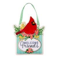 """14"""" x 18"""" Red Cardinal Spring Floral Welcome Friends Door Hanger"""