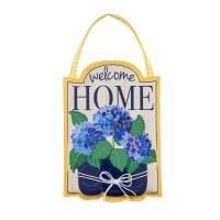 """20"""" x 14"""" Yellow and Blue Hydrangeas Welcome Home Door Hanger"""