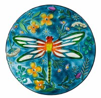 """18"""" Round Multicolor Dragonfly Meadow Embossed Glass Bird Bath Bowl"""