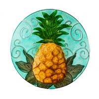 "18"" Round Turquoise Pineapple Embossed Glass Bird Bath Bowl"