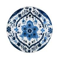 "18"" Round Light and Dark Blue Flower Embossed Glass Bird Bath Bowl"