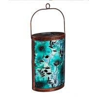 "10"" Blue Oasis Florals Handpainted Solar Glass Lantern"