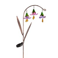 """42"""" Pink Glass Flowers and Solar Twinkling Lights Arched Garden Stake"""