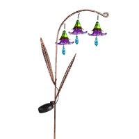 """42"""" Purple Glass Flowers and Solar Twinkling Lights Arched Garden Stake"""