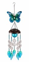 """24"""" Blue and Green Metallic Solar Butterfly Wind Chime"""