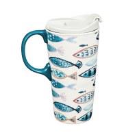 17 oz Teal Fish Ceramic Travel Mug With Lid and Gift Box