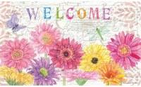 "18"" x 30"" Multi Pastels Gerbera Daisy Welcome Embossed Doormat"