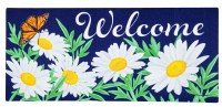 """10"""" x 22"""" Navy Daisies and Butterfly Spring Welcome Sassafras Doormat"""