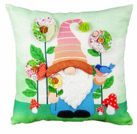 """14"""" Square Multicolor Gardening Gnome Spring Flowers and Birds Pillow"""