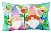 """10"""" x 16"""" Multicolor Gardening Gnomes Spring Flowers and Birds Lumbar Pillow"""