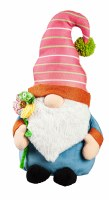 """19"""" Red and Blue Gnome Shaped Pillow With Fabric Flower"""