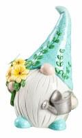"8"" Blue Ceramic Gardening Gnome With LED Flower Pot"