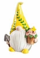 """8"""" Yellow Ceramic Gardening Gnome With LED Flower Pot"""