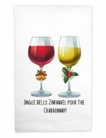 """22"""" x 17"""" Jingle Bells Zinfandel Pour the Chardonnay Huck Kitchen Towel"""
