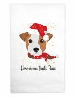 "22"" x 17"" Here Comes Santa Paws Huck Kitchen Towel"