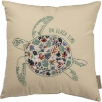 """15"""" Square Multicolor On Beach Time Embroidered Turtle Pillow"""