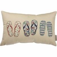 "12"" x 19"" Multicolor Embroidered Flip Flops Linen Blend Pillow"