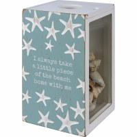 """7"""" Aqua and White Wood Piece of the Beach Shell Holder Box"""