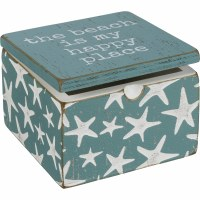 """4"""" Square Aqua and White Wood Starfish Happy Place Box with Hinged Lid"""