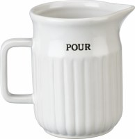 """5"""" White Ribbed Ceramic Pour Pitcher"""