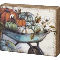 "8"" x 10"" Pumpkins in Wheelbarrow Box Sign"