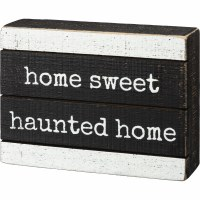 """6"""" Home Sweet Haunted Home Wood Box Plaque"""