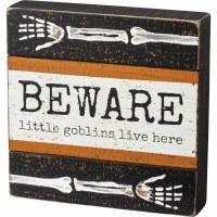 "8"" Square Beware Little Goblins Live Here Wood Box Plaque"