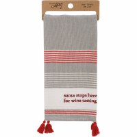 """28"""" x 20"""" Santa Stops Here For Wine Tasting Striped Kitchen Towel with Tassels"""
