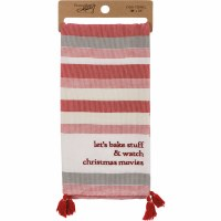"""28"""" x 20"""" Bake Stuff and Watch Movies Striped Kitchen Towel with Tassels"""