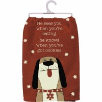 """28"""" Square Red Knows When You've Got Cookies Dog Kitchen Towel"""