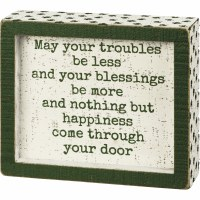 """5"""" x 6"""" White with Green Shamrocks Blessings Be More Wood Box Plaque"""