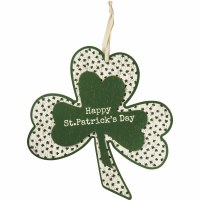"""14"""" White and Green Wood Happy St. Patrick's Day Shamrock Wall Plaque"""