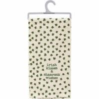 "26"" x 20"" White with Green Shamrocks Irish Kisses Kitchen Towel"