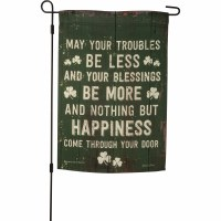 """18"""" x 12"""" Mini Green May Your Troubles Be Less St. Patrick's Day Garden Flag"""