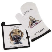 Set of 2 Christmas Dogs Oven Mitt and Pot Holder