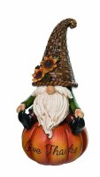 """9"""" Polyresin Give Thanks Gnome Sitting on Pumpkin"""