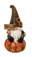 """9"""" Polyresin Happy Fall Gnome Sitting on Pumpkin with Welcome Sign"""